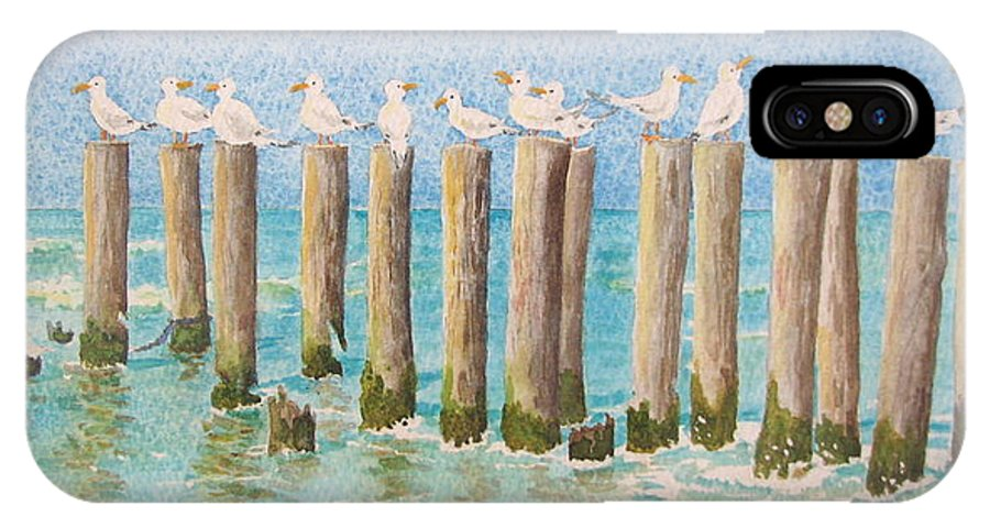 Seagulls IPhone Case featuring the painting The Town Meeting by Mary Ellen Mueller Legault