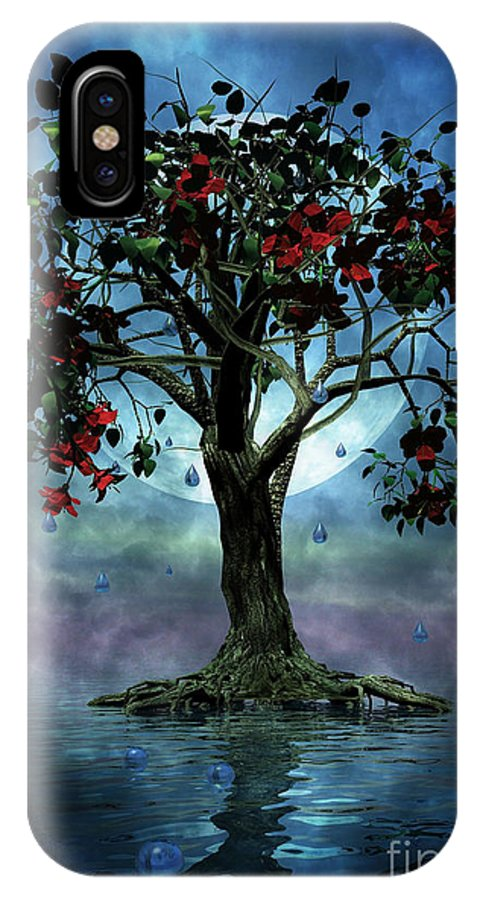 Fantasy Tree IPhone X Case featuring the painting The Tree That Wept A Lake Of Tears by John Edwards