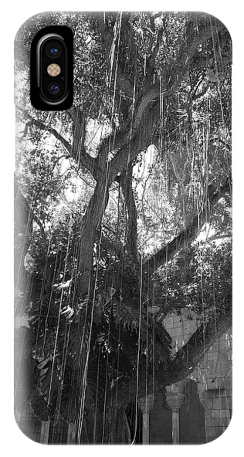 Black And White IPhone X Case featuring the photograph The Tree Vines by Rob Hans