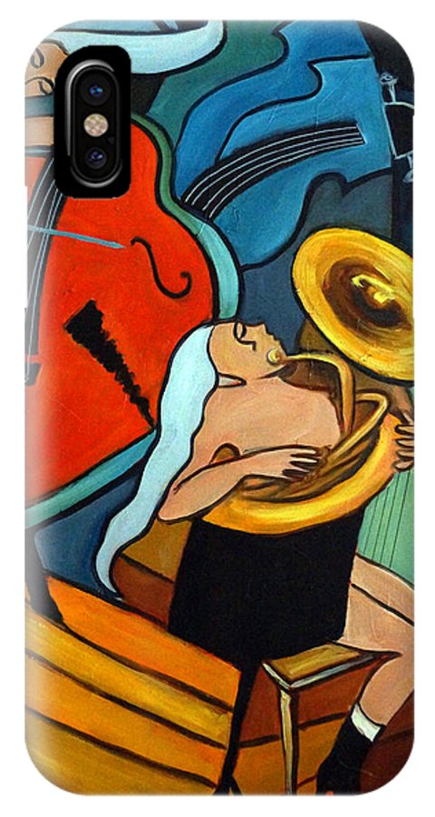 Musician Abstract IPhone X Case featuring the painting The Tuba Player by Valerie Vescovi