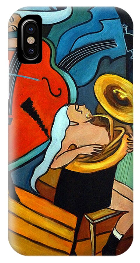Musician Abstract IPhone Case featuring the painting The Tuba Player by Valerie Vescovi