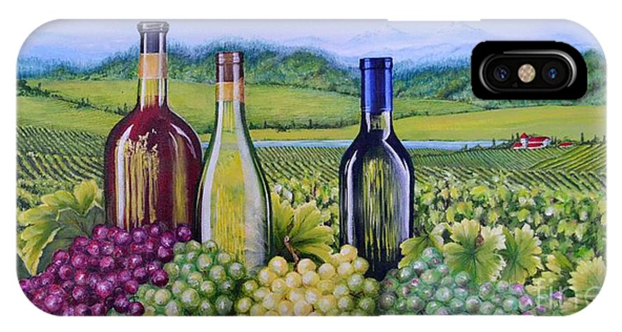 Food And Beverage IPhone X Case featuring the painting The Tuscan Vineyard by Claudine Pond