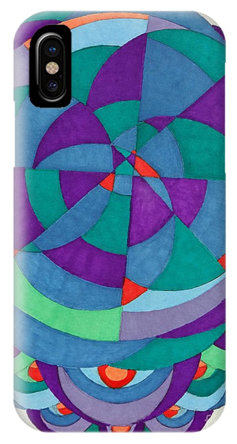 Geometrics IPhone X Case featuring the painting The Unknown by Pane Reframed