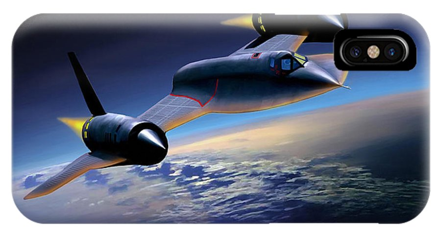 Airplane IPhone X Case featuring the painting The Untouchable SR-71 Blackbird by Mark Karvon