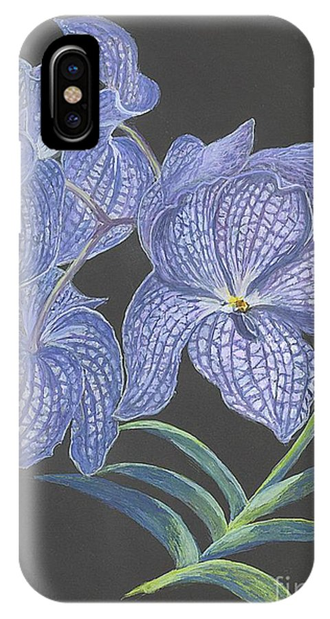 Blue Flower IPhone X Case featuring the painting The Vanda Orchid by Carol Wisniewski