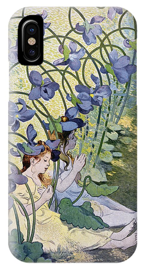 Les Violettes IPhone X Case featuring the painting The Violets Lively Flowers by Firmin Bouisset
