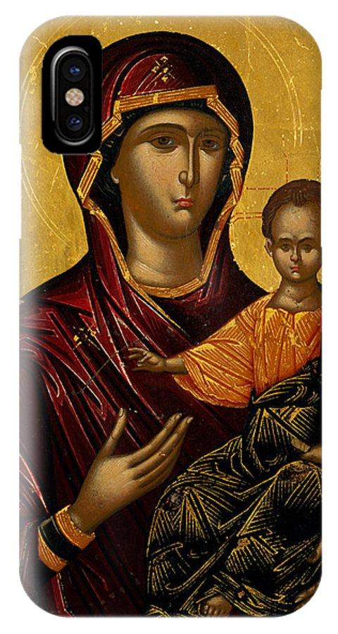 Emmanuel Lambardos IPhone X Case featuring the painting The Virgin Hodegetria by Emmanuel Lambardos