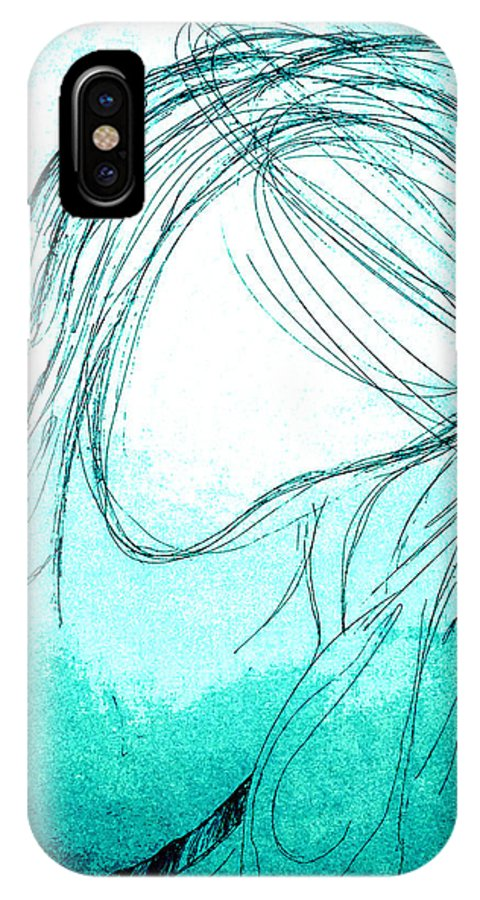 Giorgio Tuscani IPhone X Case featuring the drawing The Virgin Mary by Giorgio Tuscani