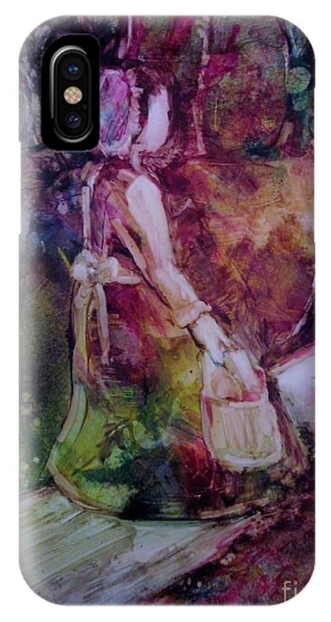 Bonnet IPhone X Case featuring the painting The Walk Home by Deborah Nell