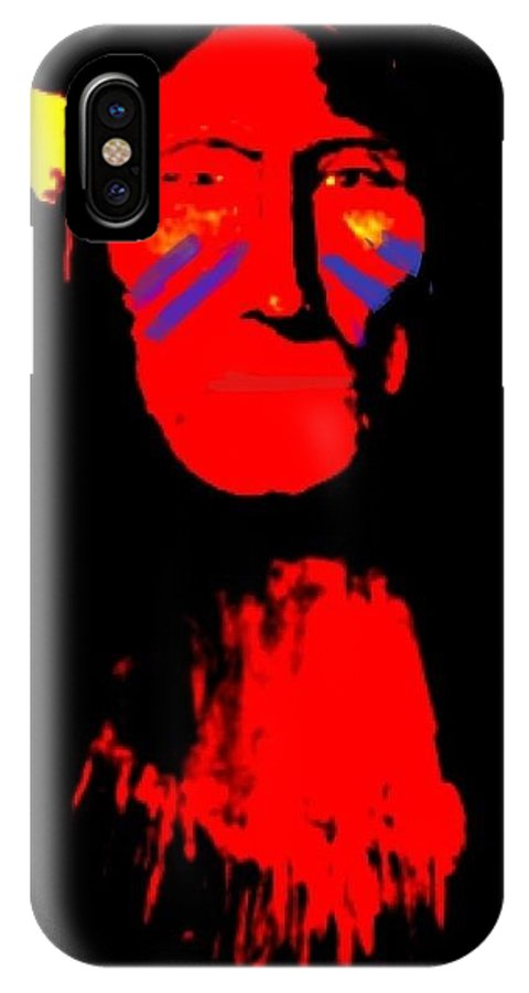 Indian IPhone X Case featuring the digital art The Warrior by Larry E Lamb