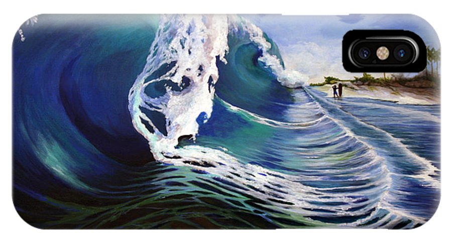 Wave IPhone X Case featuring the painting The Wave by Sue Riley