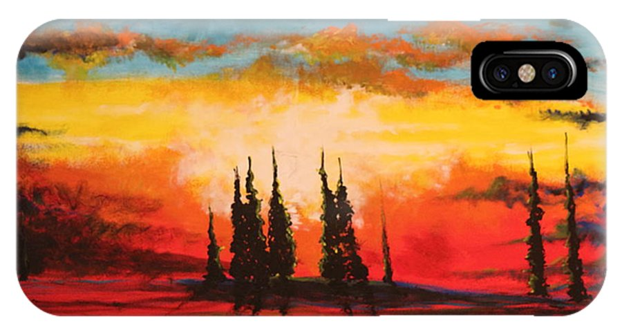 Landscape IPhone X Case featuring the painting The Way Is Alway Opened by Stefan Duncan