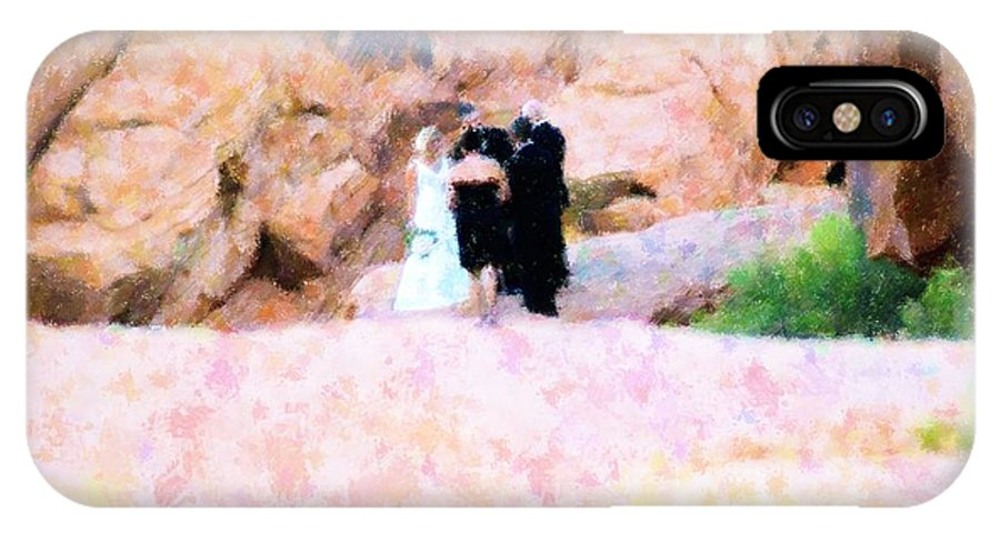 Abstract IPhone X Case featuring the mixed media The Wedding by Florene Welebny