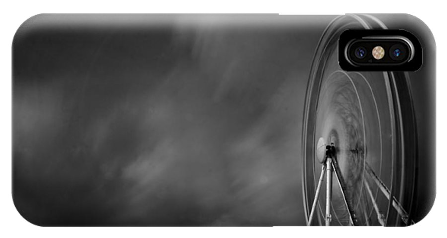 Black And White IPhone X Case featuring the photograph The Wheel by Barry Chignell