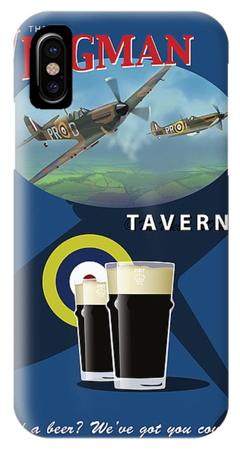 Pub Sign Concept IPhone X / XS Case featuring the digital art The Wingman Tavern by Matthew Webb