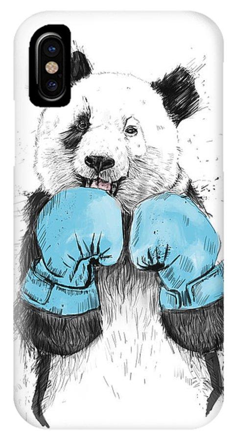 Panda IPhone X Case featuring the digital art The Winner by Balazs Solti