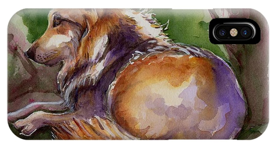 Wolf Art IPhone X Case featuring the painting The Wolf Star by Maria's Watercolor