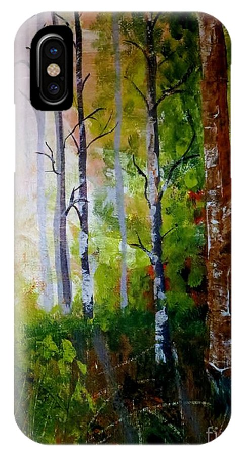 Woods IPhone X Case featuring the painting The Woods by Tim Townsend