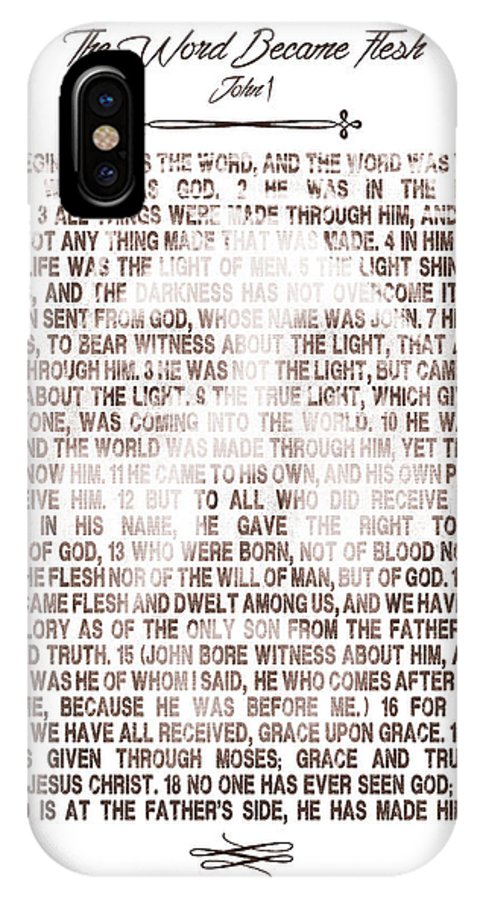 Bible IPhone X Case featuring the digital art The Word Became Flesh by Andrew Dyer Photography