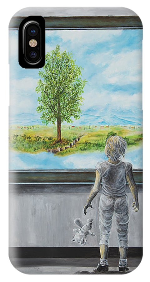 Painting Of Paintings IPhone X Case featuring the painting The World You Thought You Lived In by Nik Helbig