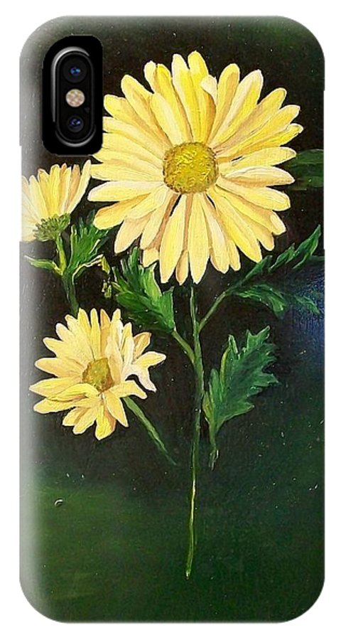 Flower IPhone Case featuring the painting The Yellow Daisy by Wanda Dansereau