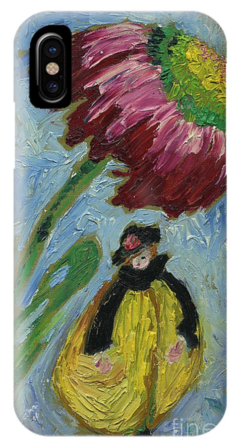Lady In Hat Yellow Jacket Waif Nymph Fairy Pixie Elf Corn Flower Umbrella Blue Sky Day Cathy Peterson IPhone X Case featuring the painting The Yellow Jacket Nymph Waiting Under A Cornflower. by Cathy Peterson