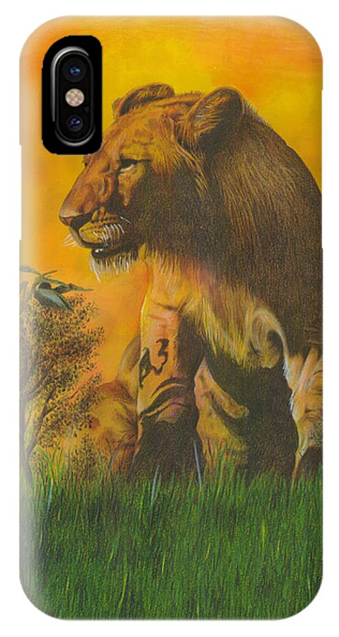 Lion IPhone X Case featuring the painting The Young Pretender by John Hebb