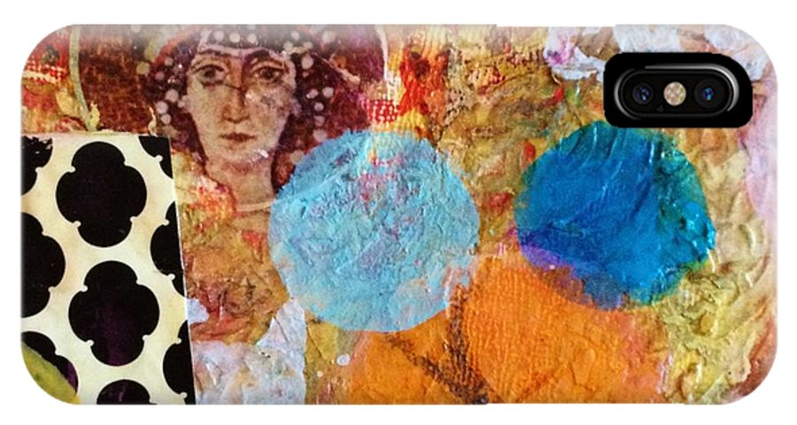Theodora Acrylic/mixed Media Contemporary Abstract Expressionistic Painting On Wood Panel IPhone X Case featuring the mixed media Theadora by Melinda Jones