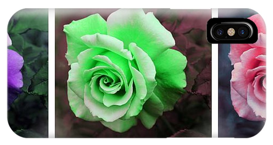 There Were Roses Triptych IPhone X Case featuring the photograph There Were Roses Triptych by Barbara Griffin