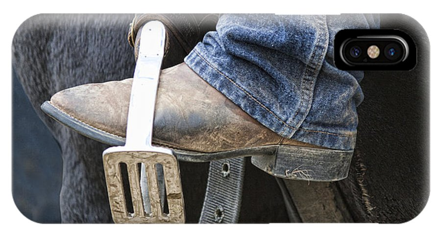 Boot IPhone X Case featuring the photograph These Boots Are Made For Working by Linda Lees