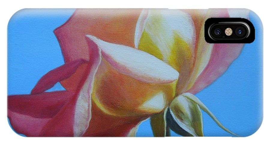 Still Life IPhone X Case featuring the painting Things Are Coming Up Rosy by Genevieve Davidson