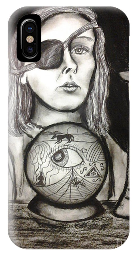 Charcoal IPhone X Case featuring the drawing Third Eye by Fiona Glass W