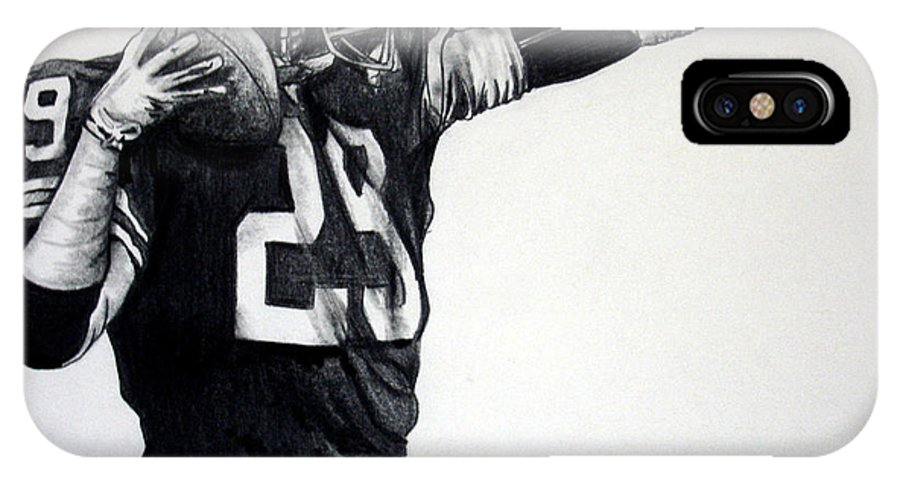 Football Player IPhone X Case featuring the drawing This Ball's For You by Joe Lisowski