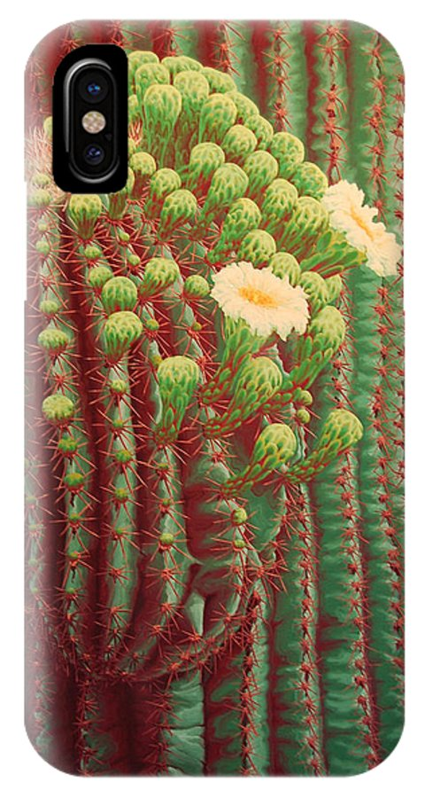 Cactus IPhone X Case featuring the painting This Bud's For You by Cheryl Fecht