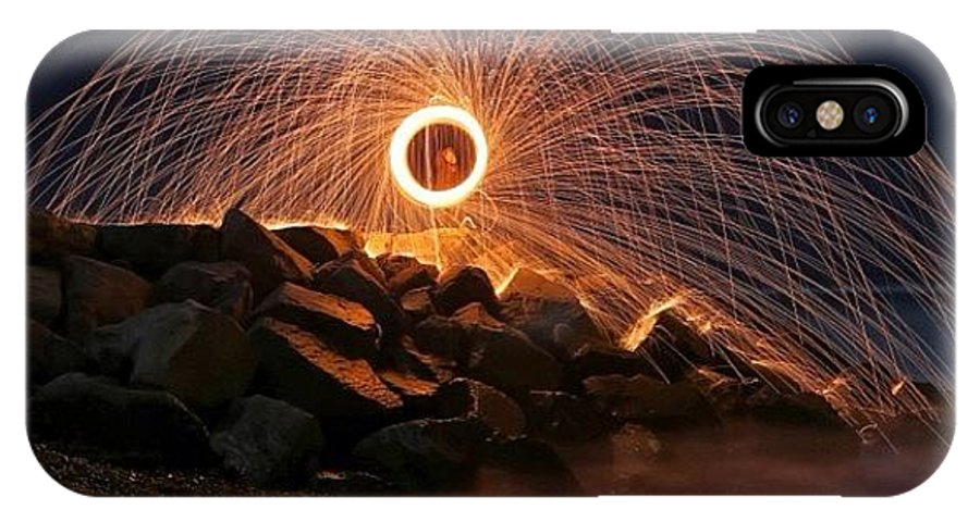 IPhone X Case featuring the photograph This Is A Shot Of Me Spinning Burning by Larry Marshall