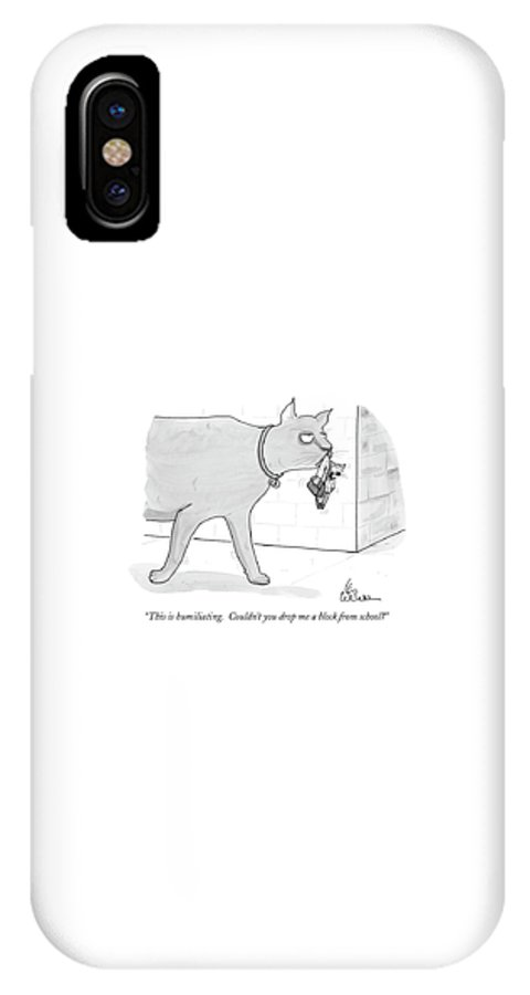 Cats IPhone X Case featuring the drawing This Is Humiliating. Couldn't You Drop by Leo Cullum