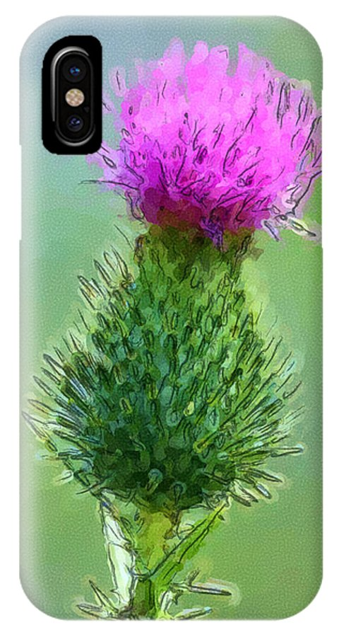 Thistle IPhone X Case featuring the digital art Thistle In Bloom by George Ferrell