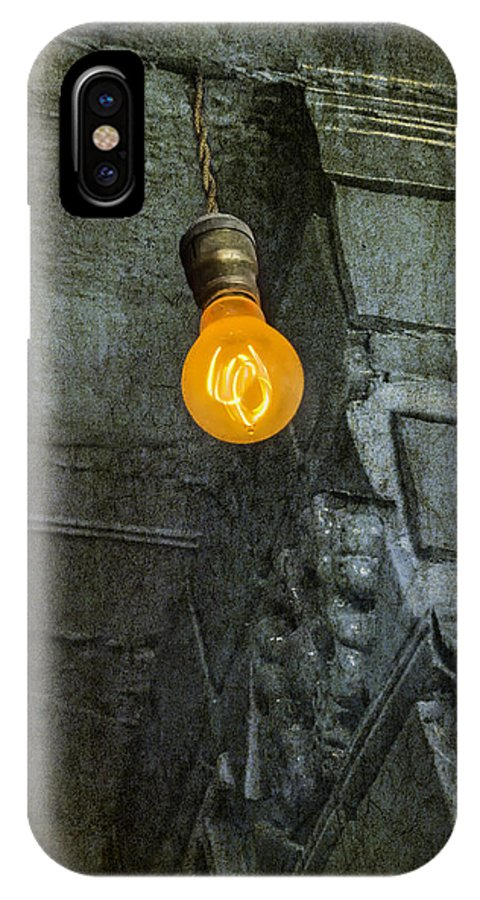 Light IPhone X Case featuring the photograph Thomas Edison Lightbulb by Susan Candelario