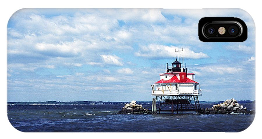 Usa IPhone X Case featuring the photograph Thomas Point Shoal Lighthouse by Thomas R Fletcher