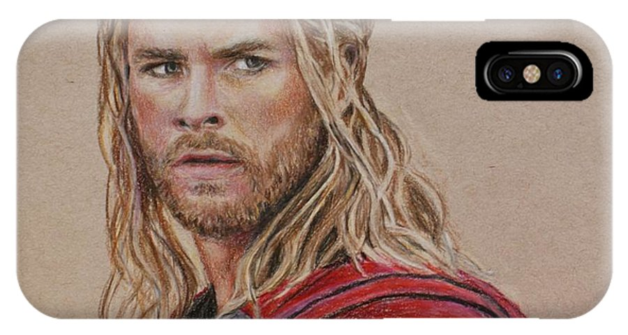 Thor IPhone X Case featuring the drawing Thor by Christine Jepsen