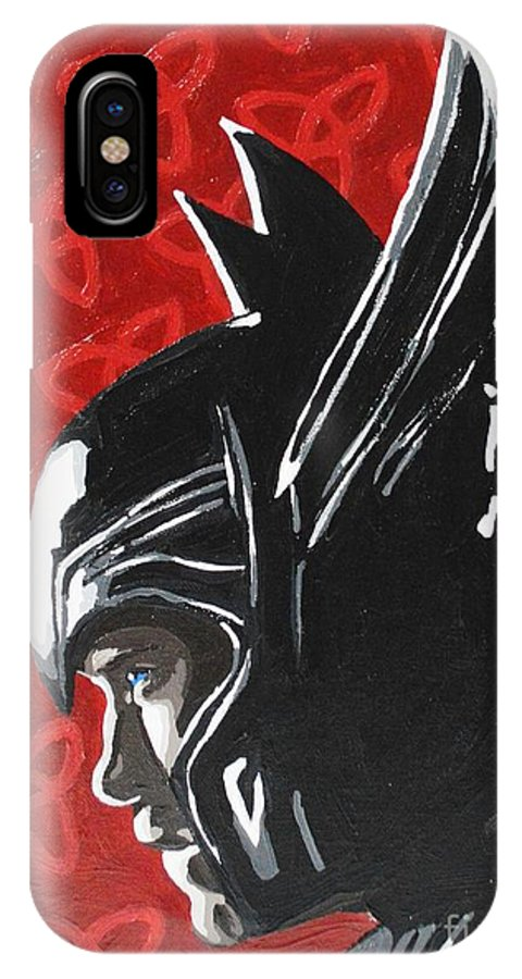 Thor IPhone X Case featuring the painting Thor by Ellen Nicole Allen