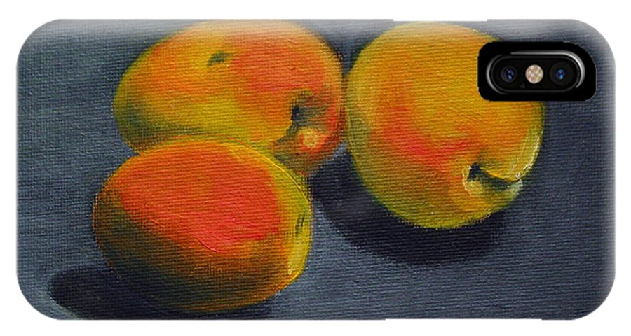 Food IPhone X Case featuring the painting Three Apricots by Sarah Lynch