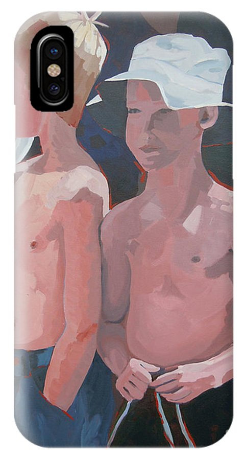 Boys IPhone X Case featuring the painting Three Boys by Tonya Henderson