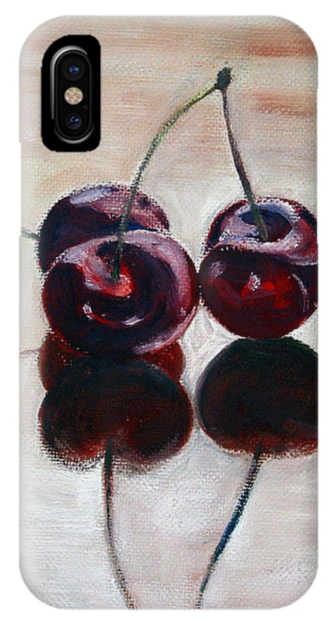 Food IPhone X Case featuring the painting Three Cherries by Sarah Lynch