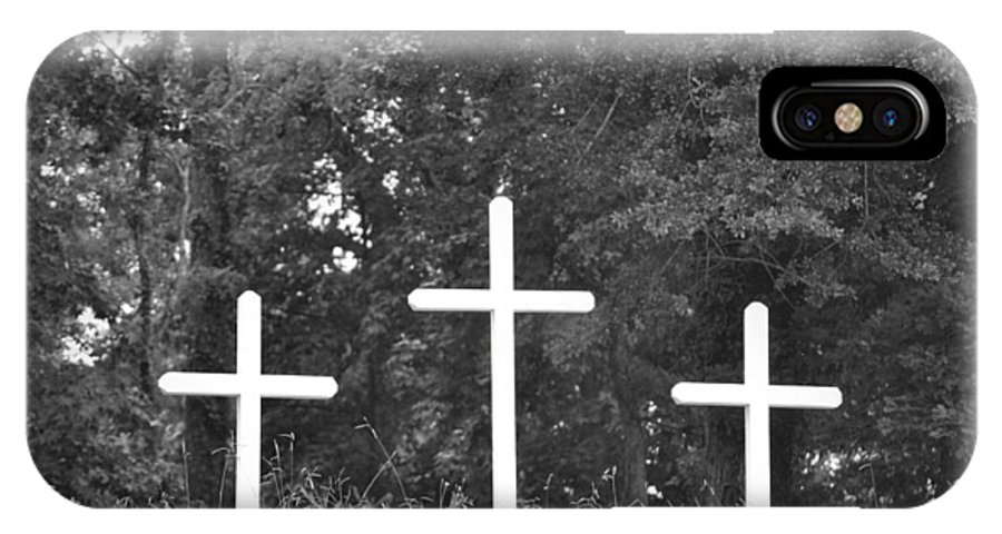 Cross IPhone X Case featuring the photograph Three Crosses by Tara Potts