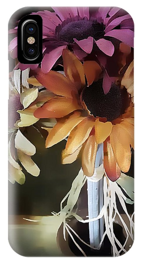 Flowers IPhone X Case featuring the digital art Three Flowers by Kelly Schutz
