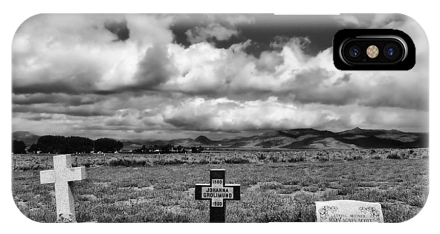 Headstones IPhone X Case featuring the photograph Three Headstones by Mick Burkey