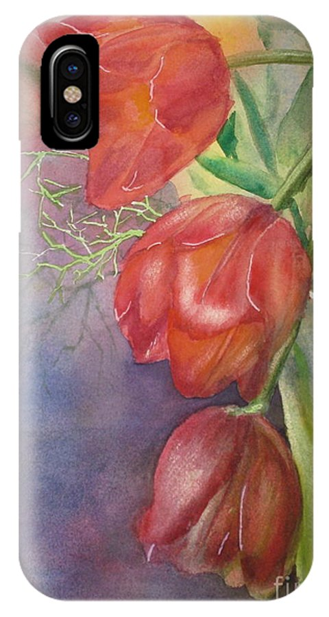Arrangement IPhone X Case featuring the painting Three In A Vase by Mohamed Hirji
