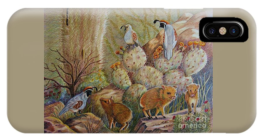 Desert Wildlife IPhone X Case featuring the drawing Three Little Javelinas by Marilyn Smith