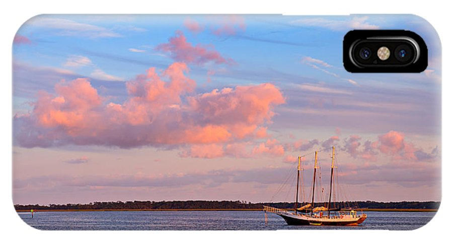 Three IPhone X Case featuring the photograph Three Masted Schooner At Anchor In The St Marys River by Louise Heusinkveld